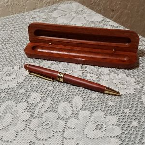 Wooden writing pen and case